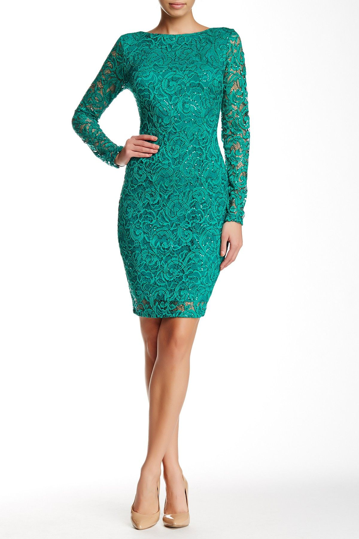 Marina Scoop Back Lace Cocktail Dress Cocktail Dress Lace