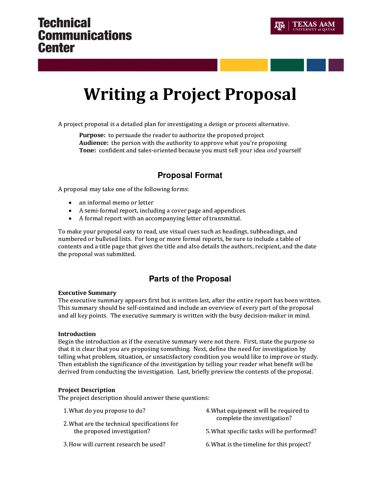 Informal proposal letter example writing a project for Writing a proposal for a new position template