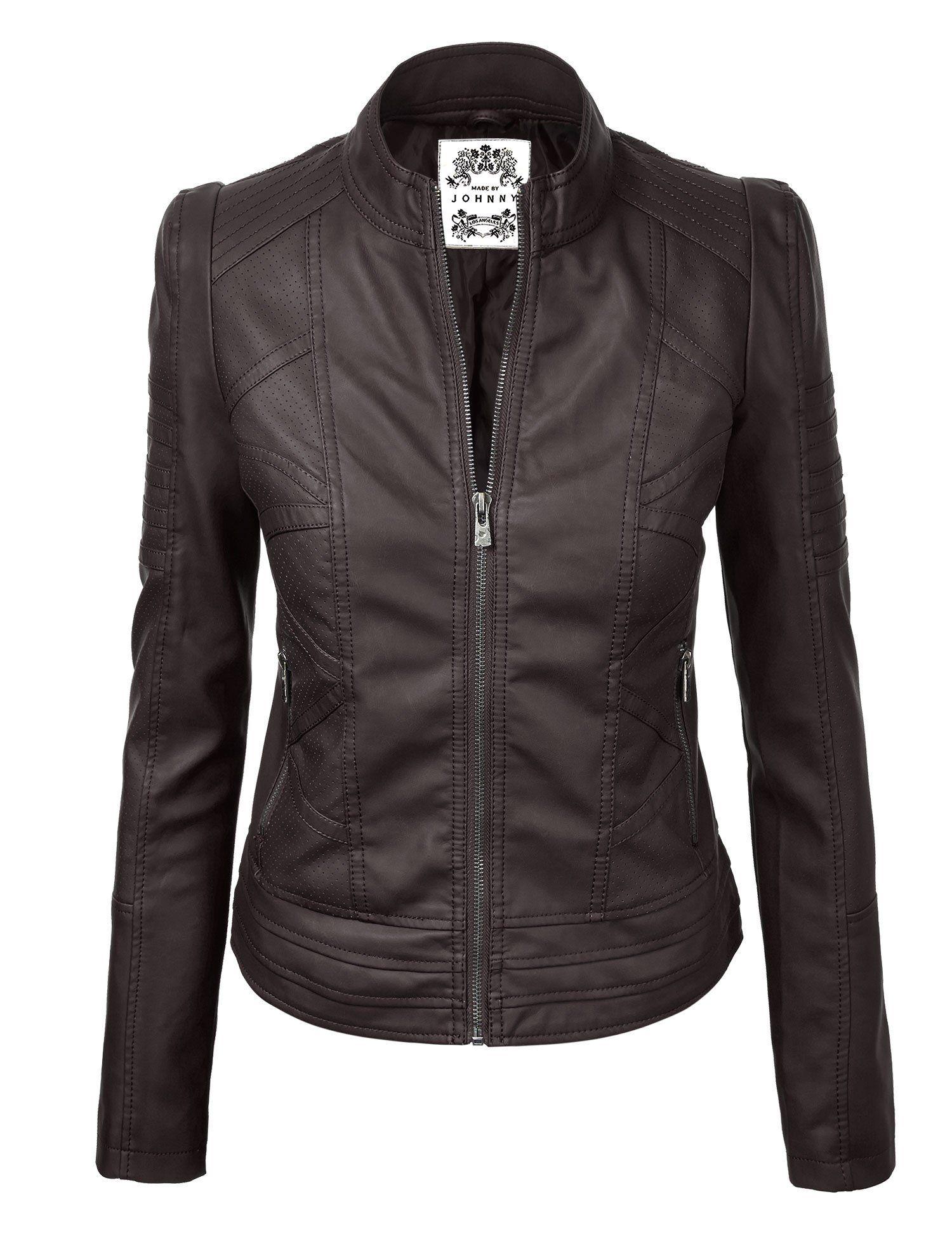 MBJ Womens Vegan Leather Motorcycle Jacket S COFFEE