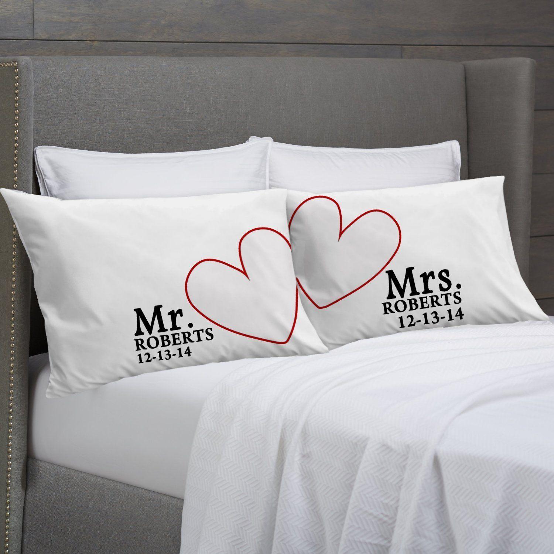 modern hearts mr mrs pillowcases