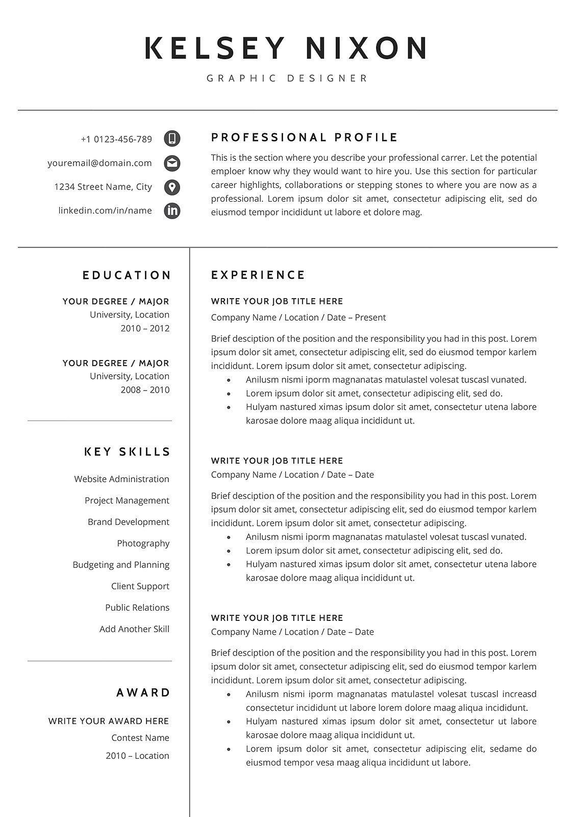 Resume/CV Template KELSEY Cv template, Resume cv