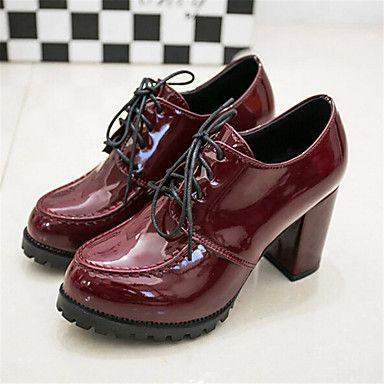 19519c1c0 Zapatos de mujer-Tacón Robusto-Tacones-Tacones-Exterior   Casual-Semicuero-Negro    Bermellón 2016 –  27.99