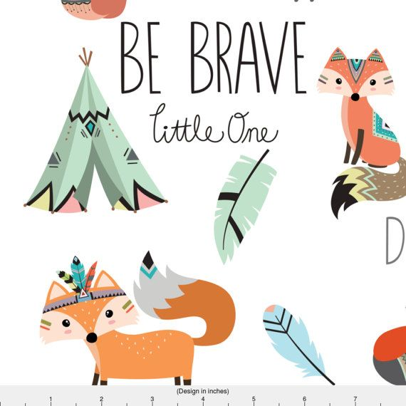 Be Brave Little One Fabric Brave Little Fox By Buckwoodsdesignco Woodland Nursery Decor Cotton Fabric By The Yard With Spoonflower Decorar Paredes Infantiles Fiesta De Bosque Animales Tribales