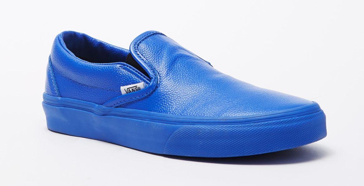blue leather slip on vans