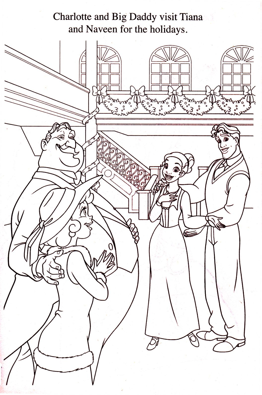 princess and the frog christmas coloring page disney