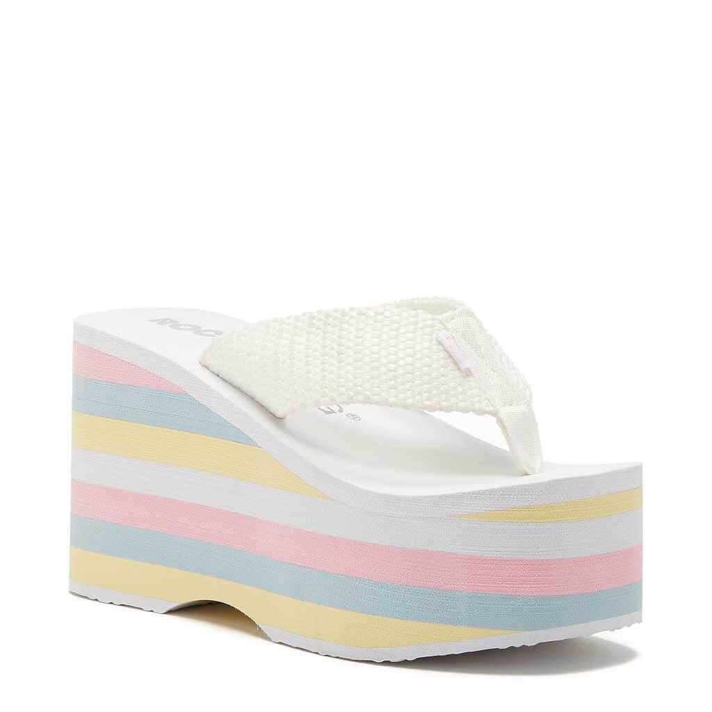 0cc03d051d250 There's no such thing as too much color with the Rocket Dog Big Top white  rainbow platform sandal! These sassy flip-flops have got it going on with a  ...