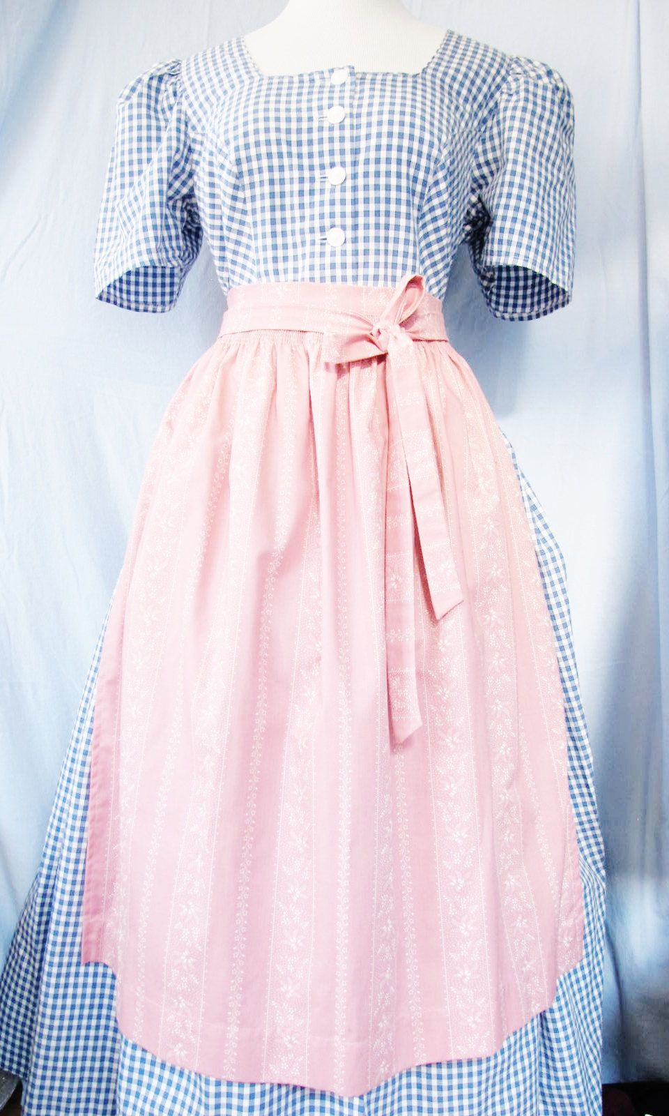 TRACHTEN DIRNDL Dress, Blue Gingham, Dusty Pink Apron, Cotton, Soft Stitched Buttons, Dirndl Sleeves, Bavarian, Alpine Austrian by AlpineCountryLooks on Etsy
