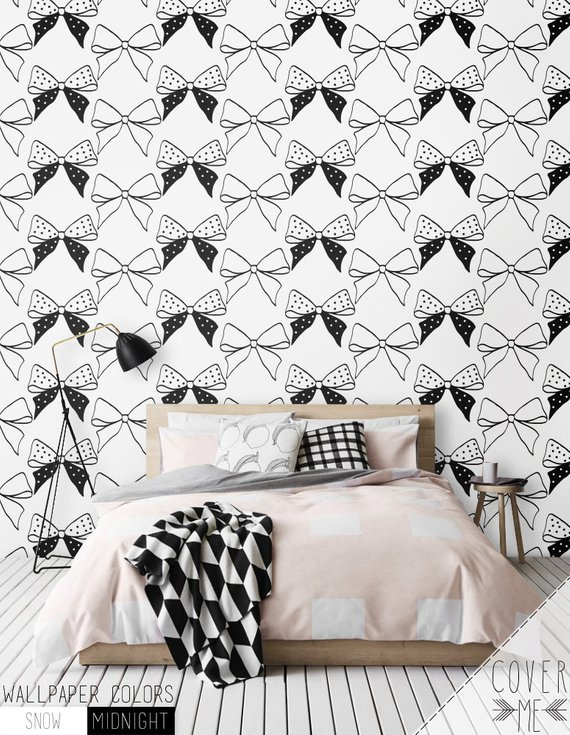 Bow Removable Wallpaper / Nursery Self Adhesive Wallpaper