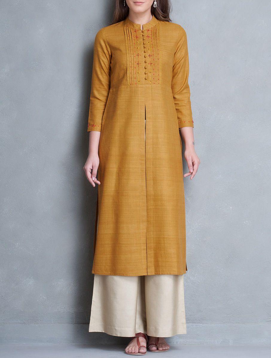 658cd40873c6d Buy Mustard Mandarin Collar Thread Embroidered Matka Silk Kurta Women  Kurtas Online at Jaypore.com
