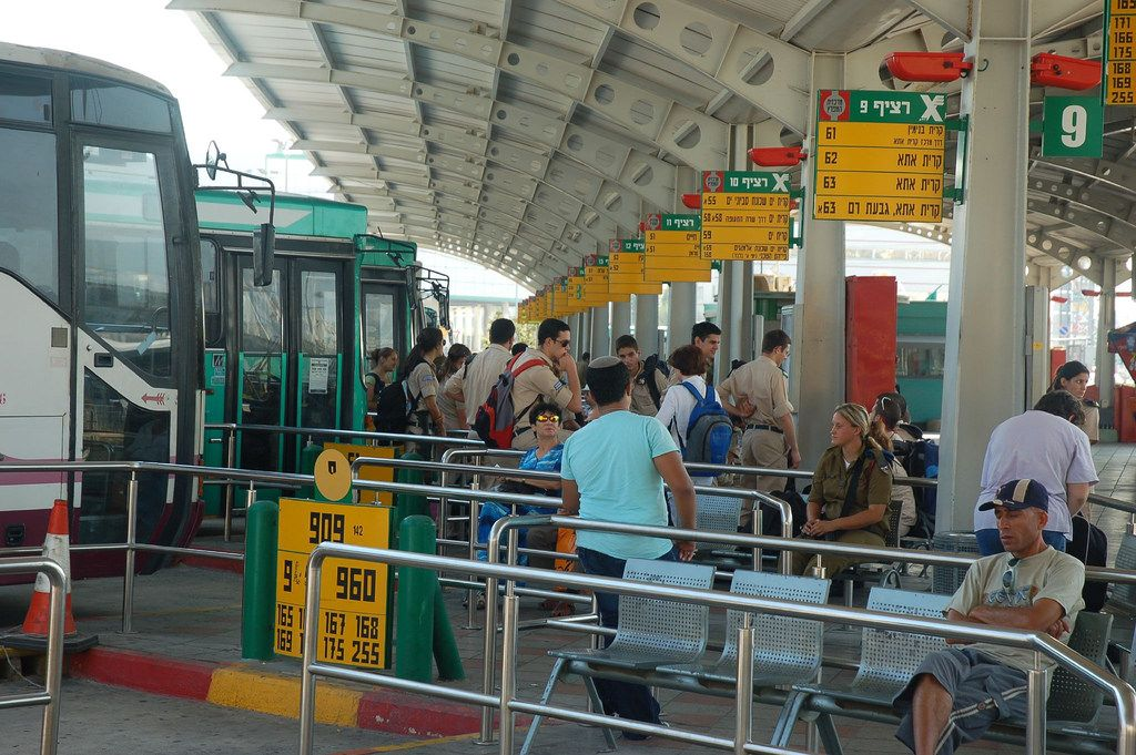https://flic.kr/p/2Tp3JM | Haifa Israel - Sunday Morning in the Bus Station | Sunday morning in the Egged bus station is crowded with people going to work and soldiers returning to base after a weekend at home.