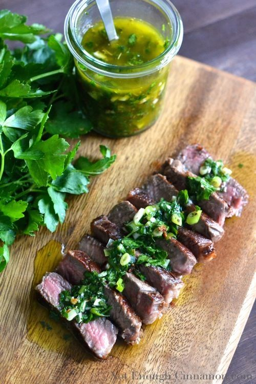 Steak with Chimichurri Sauce - a sauce made with herbs, chili, garlic, olive oil, lemon and vinegar. So delicious!