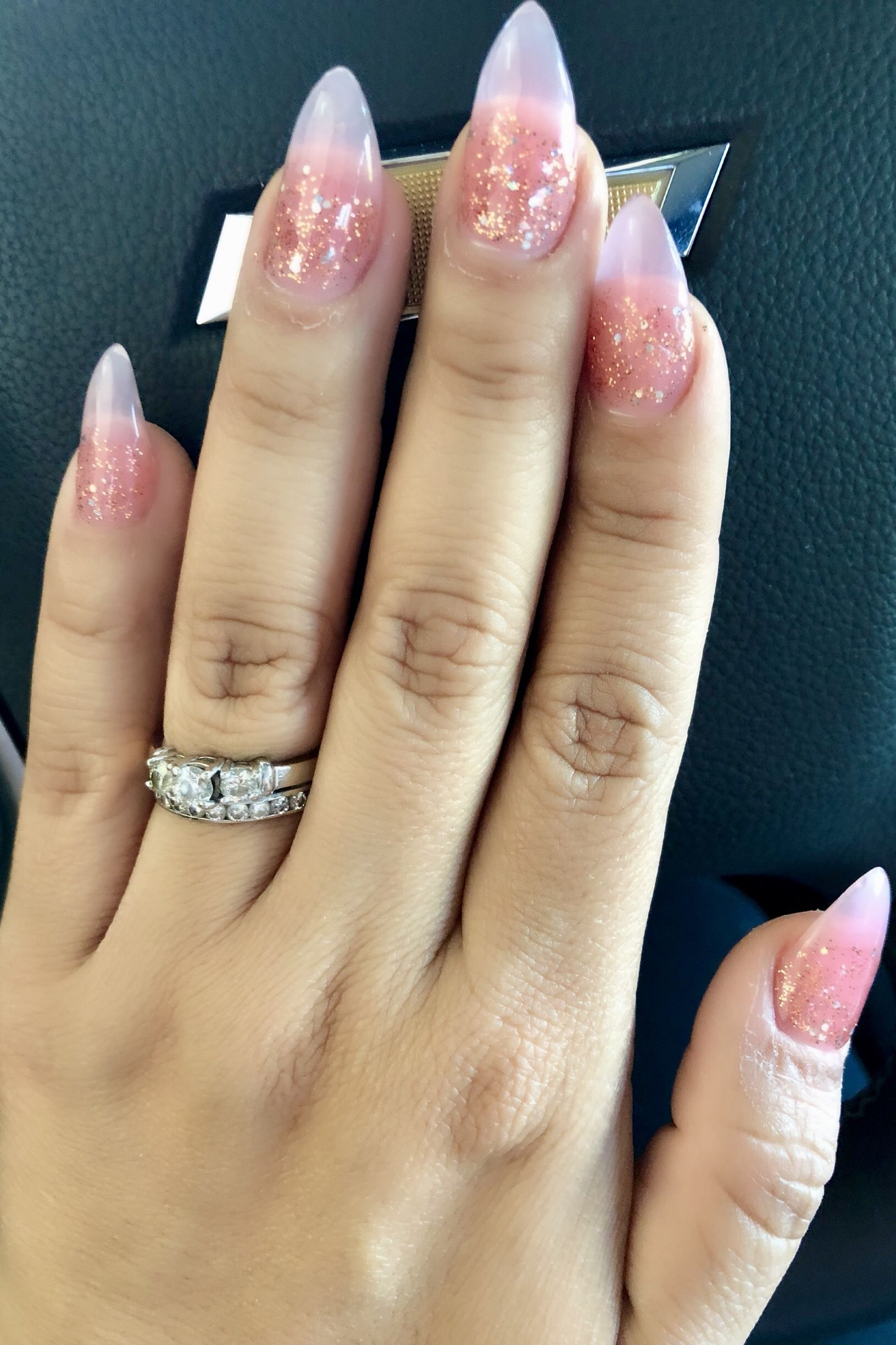 Pink Powder Acrylics Almond Nails With Rose Gold Glitter Rose Gold Nails Acrylic Gold Acrylic Nails Almond Acrylic Nails