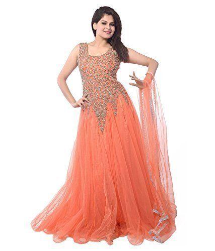 VISVABHAVANAH MART Women's Net Gown (Free Size, Orange) V...…