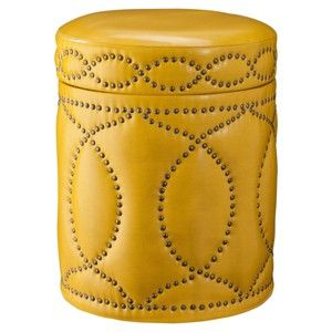 Three Hands Yellow Storage Ottoman with Nail Head Detail