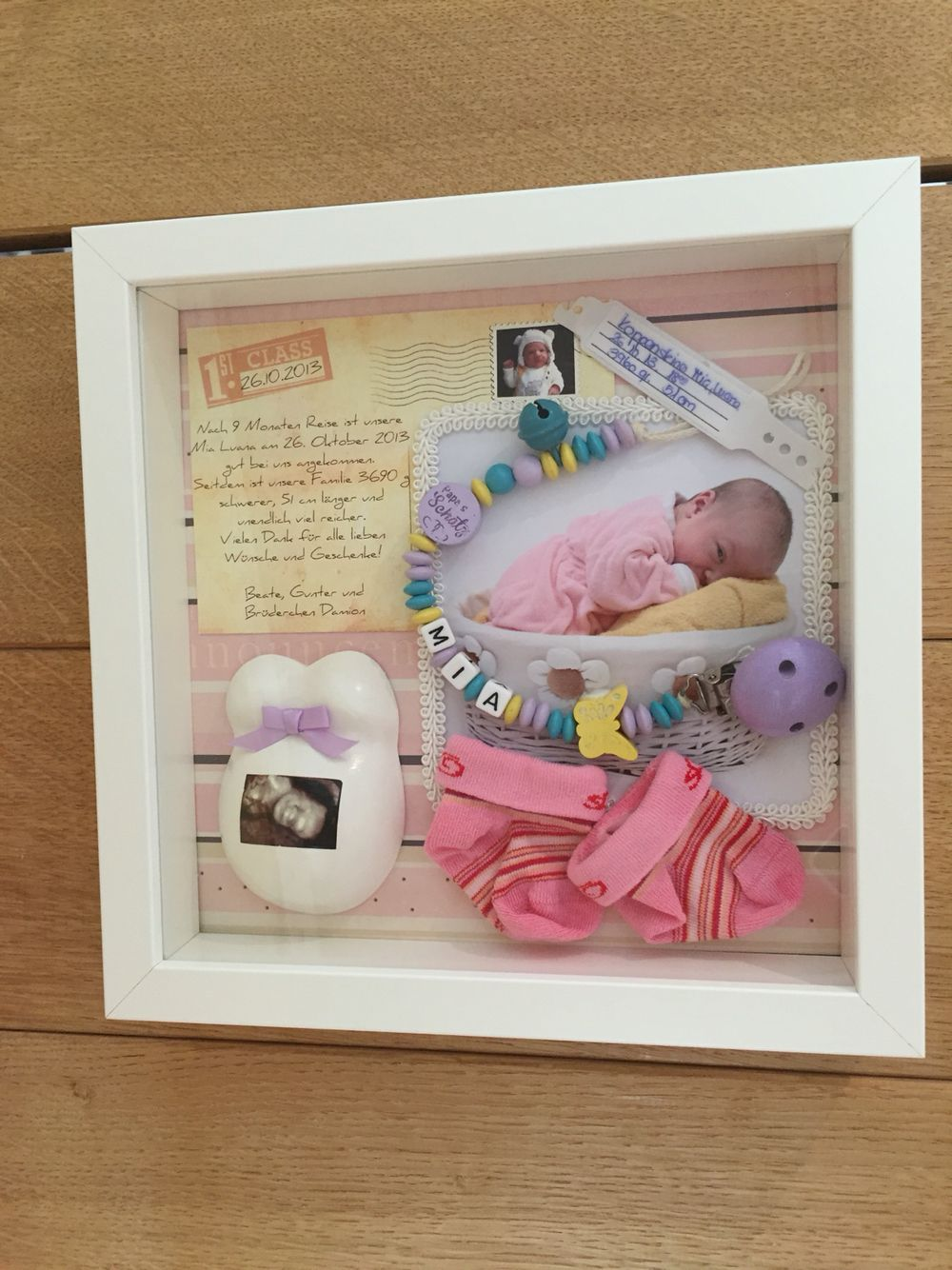 Baby Bedroom In A Box Special: Birth Shadow Box, Baby Erinnerungsrahmen, Bea's Plüschgips