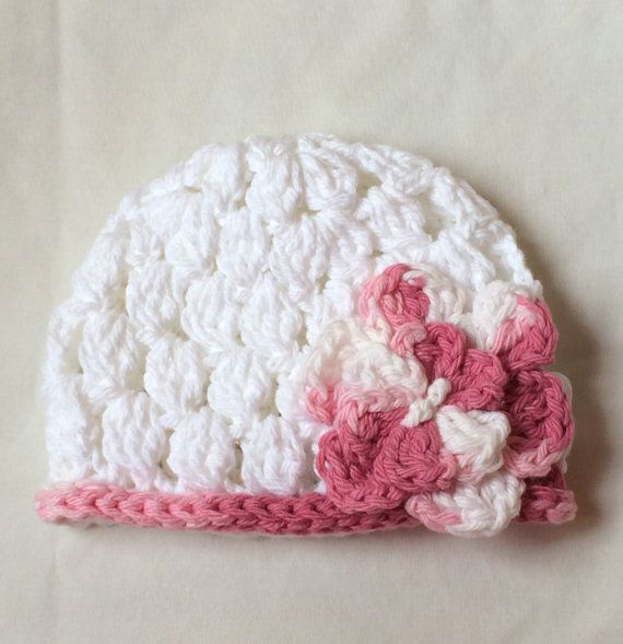 Pink and White Handmade Newborn Baby Hat 100% Cotton by ShopSoBaby