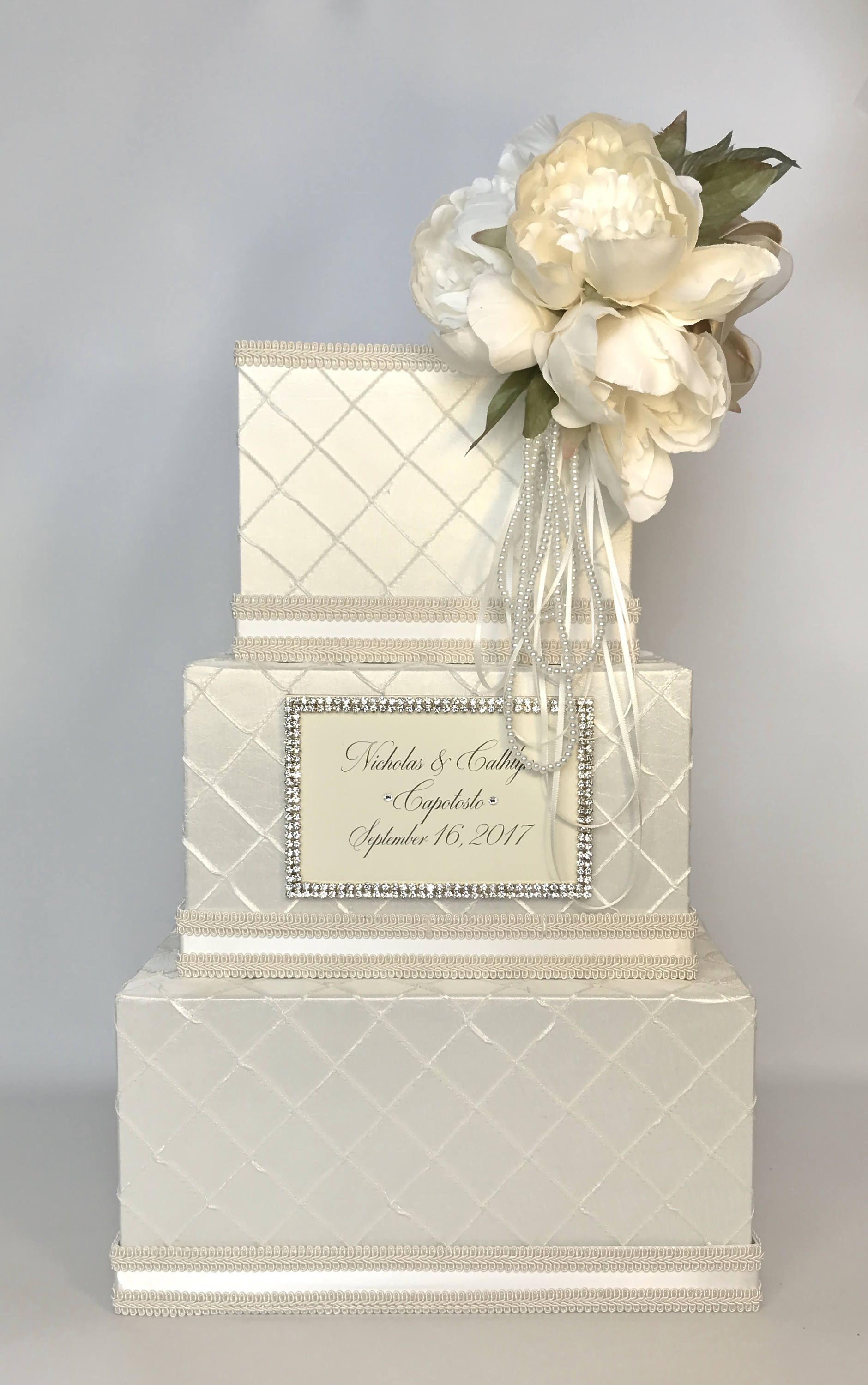 Wedding Card Box with Lock Peony Ivory White Gold Ribbon 3 Tiers ...