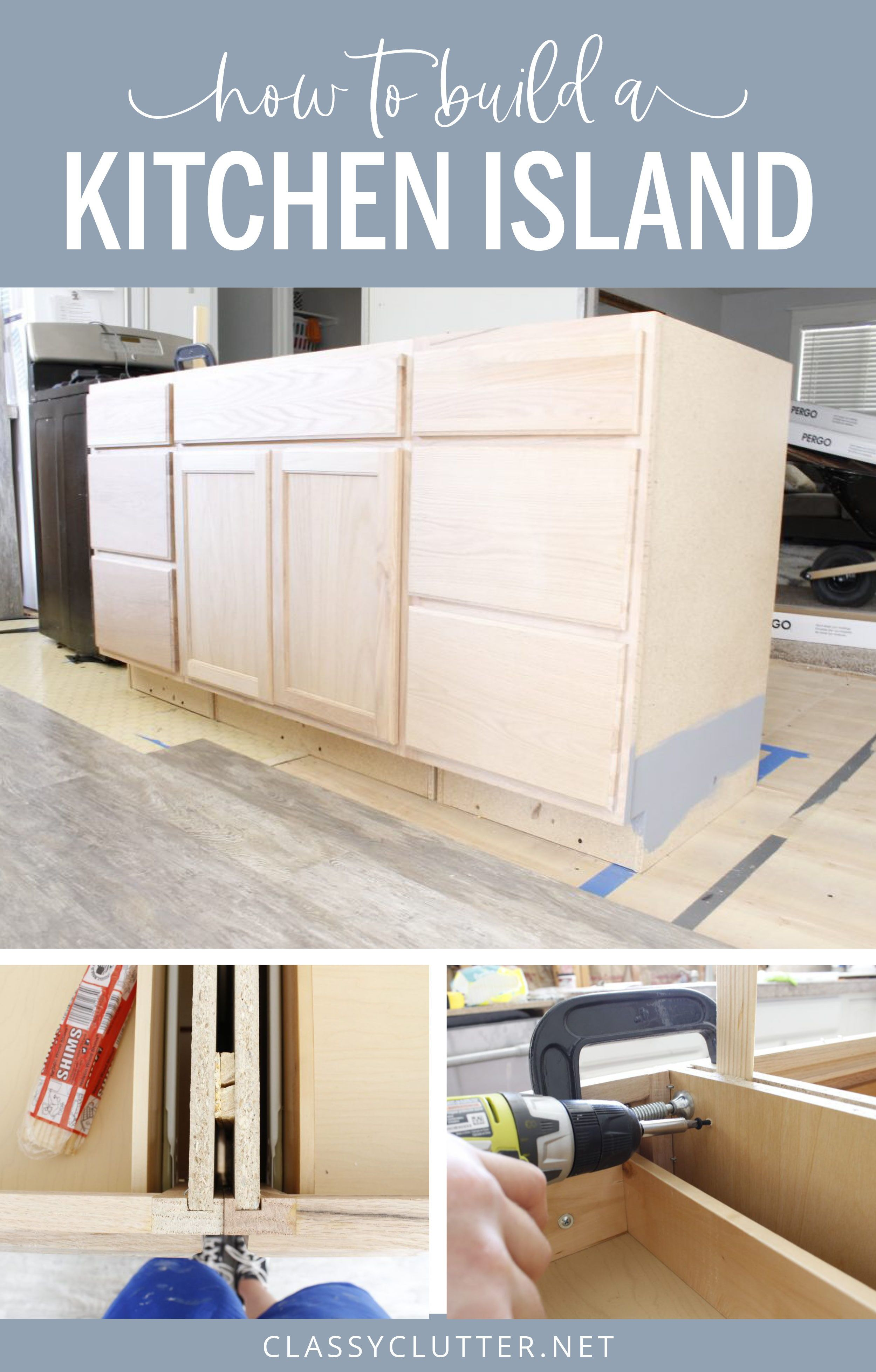 How To Build A Kitchen Island Easy Diy Kitchen Island In 2020 Building A Kitchen Build Kitchen Island Diy Kitchen Island
