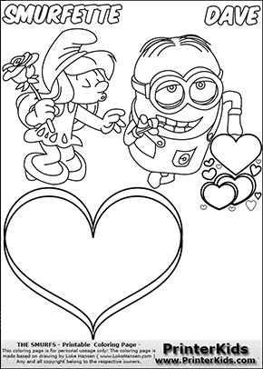 Coloring page with Smurfette trying to kiss with her eyes closed