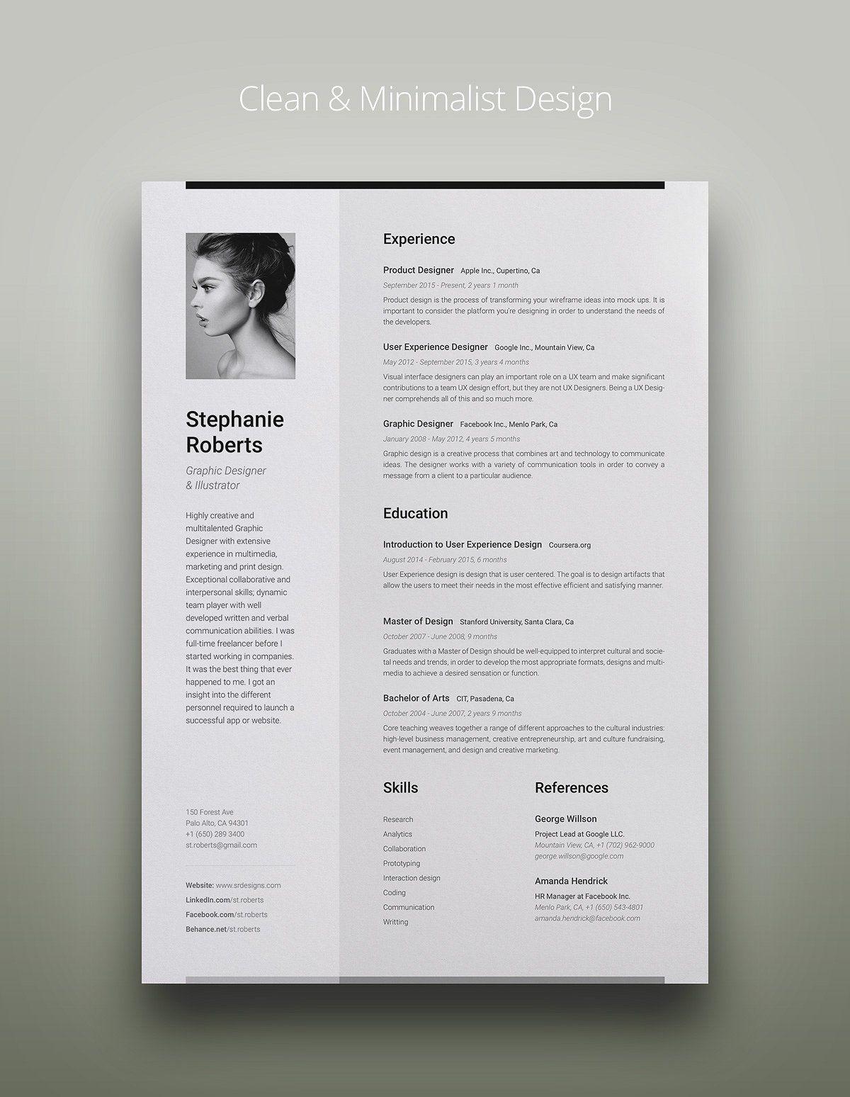 Professional Resume 1 V Cg Resume Design Creative Resume Resume Design