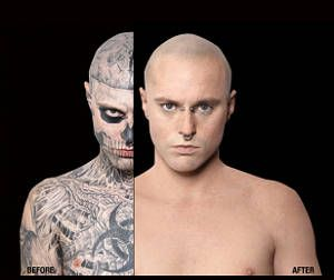 zombie boy' is completely covered by skeleton tattoos . . . but, Skeleton