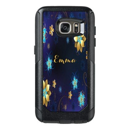 #gold - #Blue and gold colored chic floral pattern OtterBox samsung galaxy s7 case