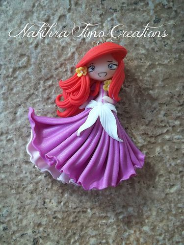 Ariel flower dress polymer clay- this is actually really cute and pretty :)