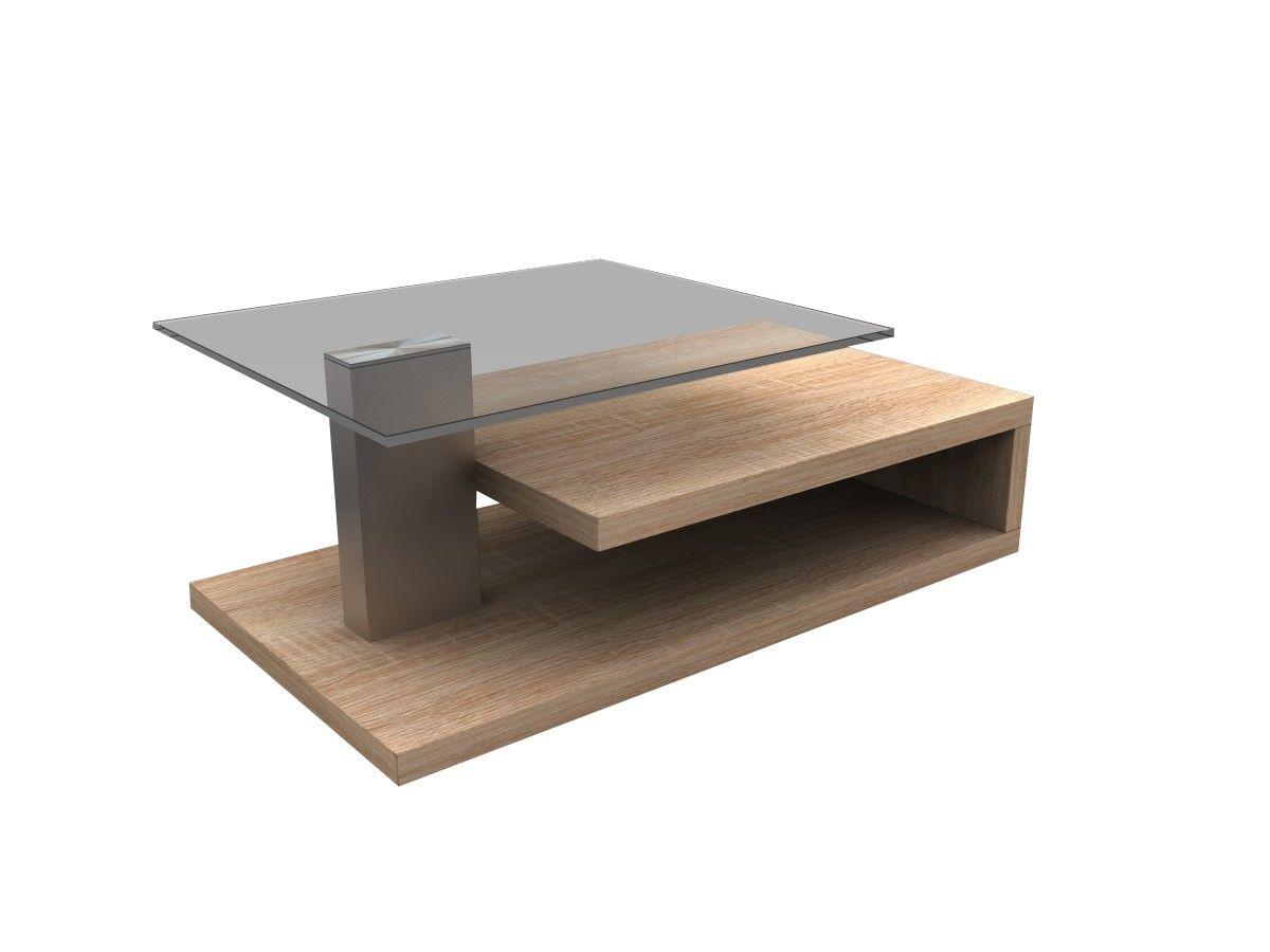Couchtisch 103 Cm Rollbar 3 Ebenen MDF Sonoma Eiche Tisch Wohnzimmertisch Neu In Mbel Wohnen Tische