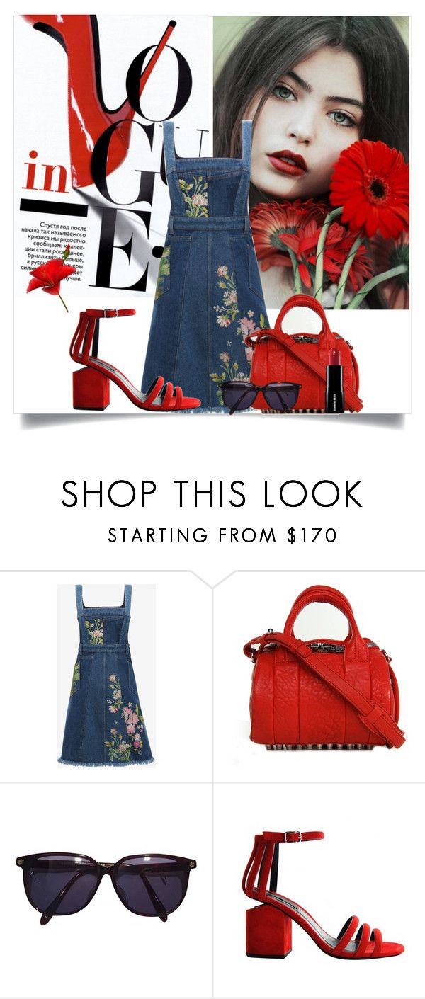 """Red and Denim !"" by fantasy-rose ❤ liked on Polyvore featuring Alexander McQueen, Alexander Wang and Sonia Rykiel"