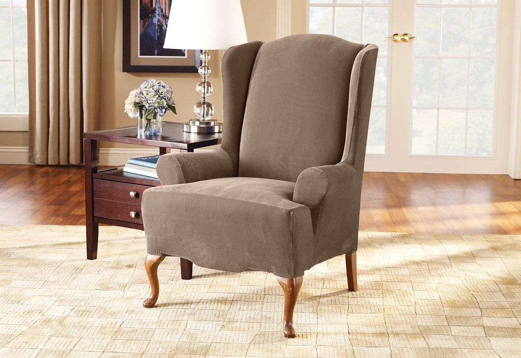 Stretch Pique One Piece Wing Chair Slipcover Form Fit Machine Washable Slipcovers For Chairs Wing Chair White Dinning Chairs