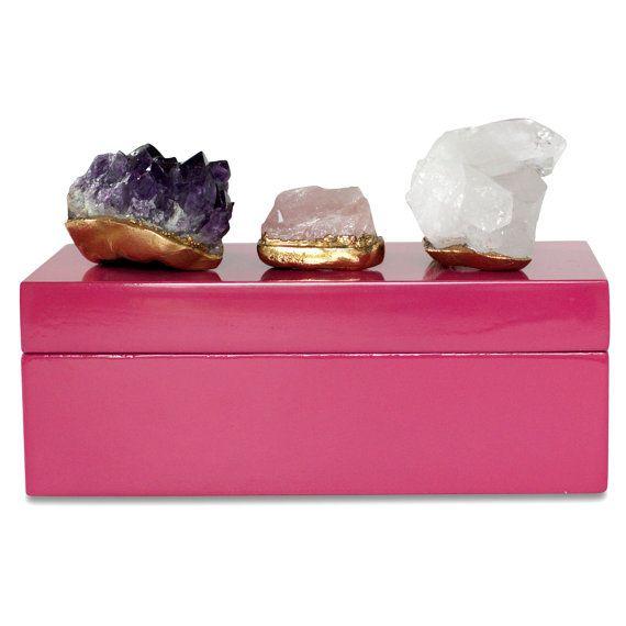 Raw Stone Amethyst Box Rose Quartz Box Raw Crystal Box Mineral Box Coffee Table Box Quartz Decor D Raw Gemstone Jewelry Crystal Box Raw Gemstones
