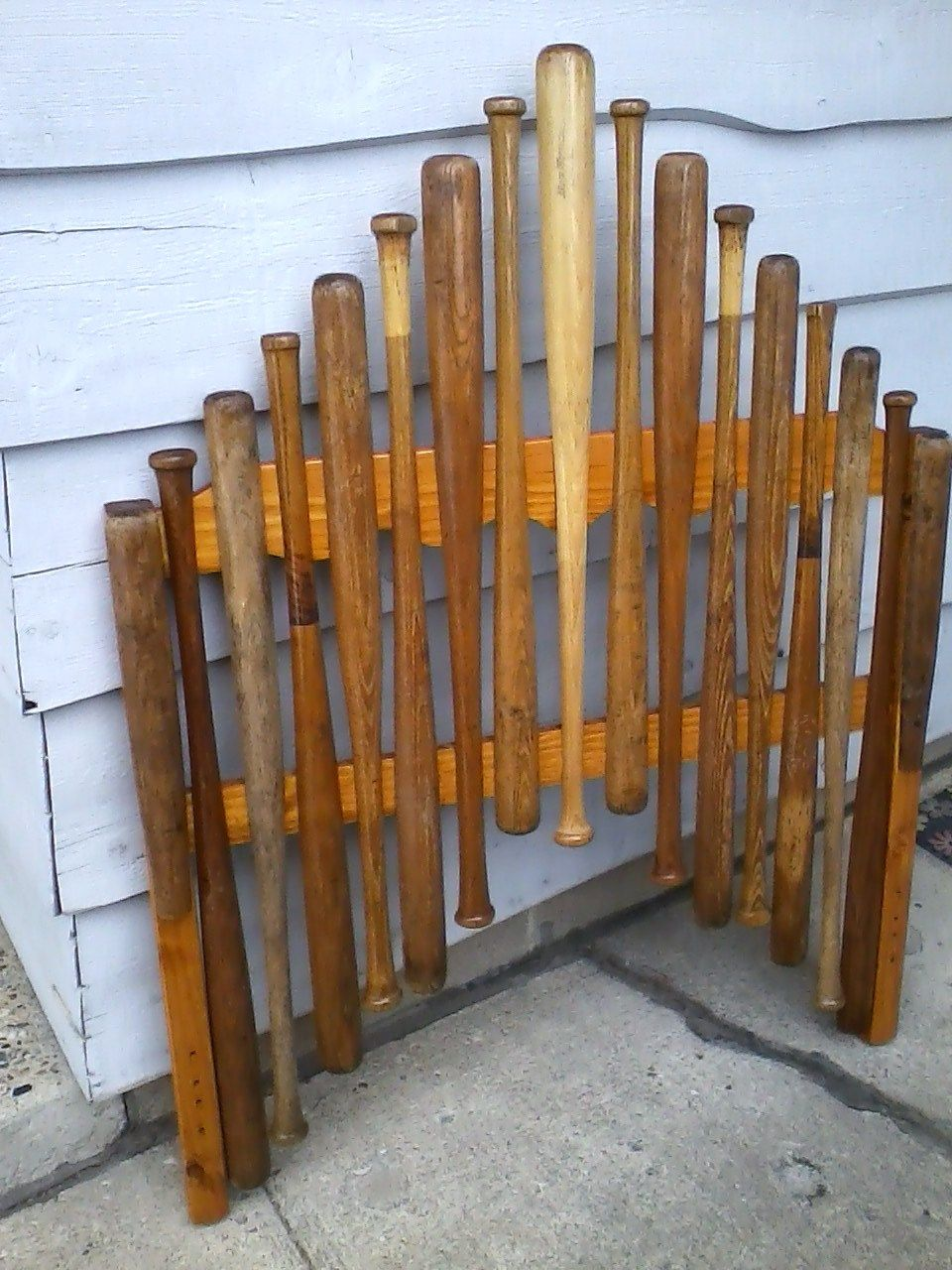 the pinner said i actually sawed these old wooden baseball bats in