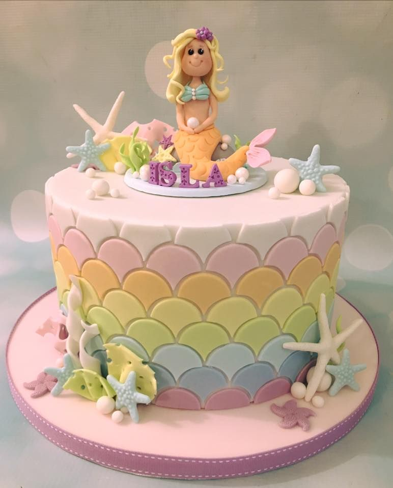 Awe Inspiring Mermaid Birthday Celebration Cake With Pastel Rainbow Scale Design Personalised Birthday Cards Akebfashionlily Jamesorg