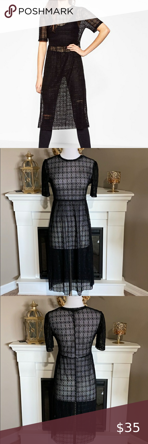Zara Black Sheer Lace Short Sleeve Dress Black Sheer Lace Dress Or Swimsuit Cover Up With Short Sleeve Sheer Lace Dress Sheer Lace Shorts Short Sleeve Dresses [ 1740 x 580 Pixel ]
