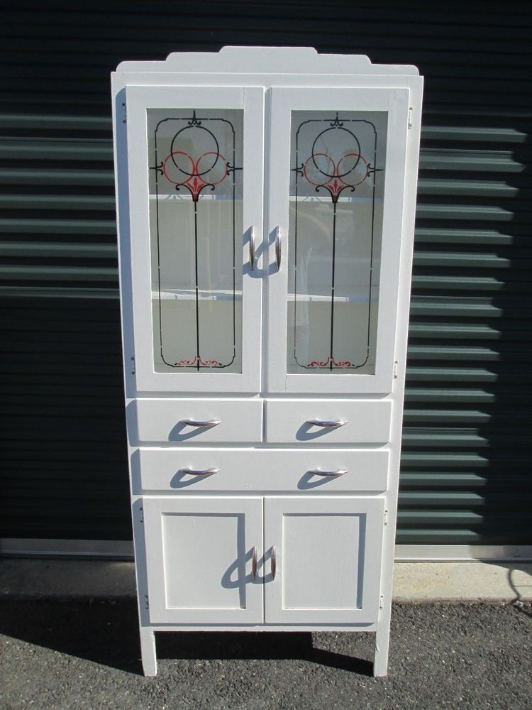 1940s vintage kitchen cabinet cupboard wooden white paint cottage glass doors vintage on kitchen cabinets with glass doors on top id=68965