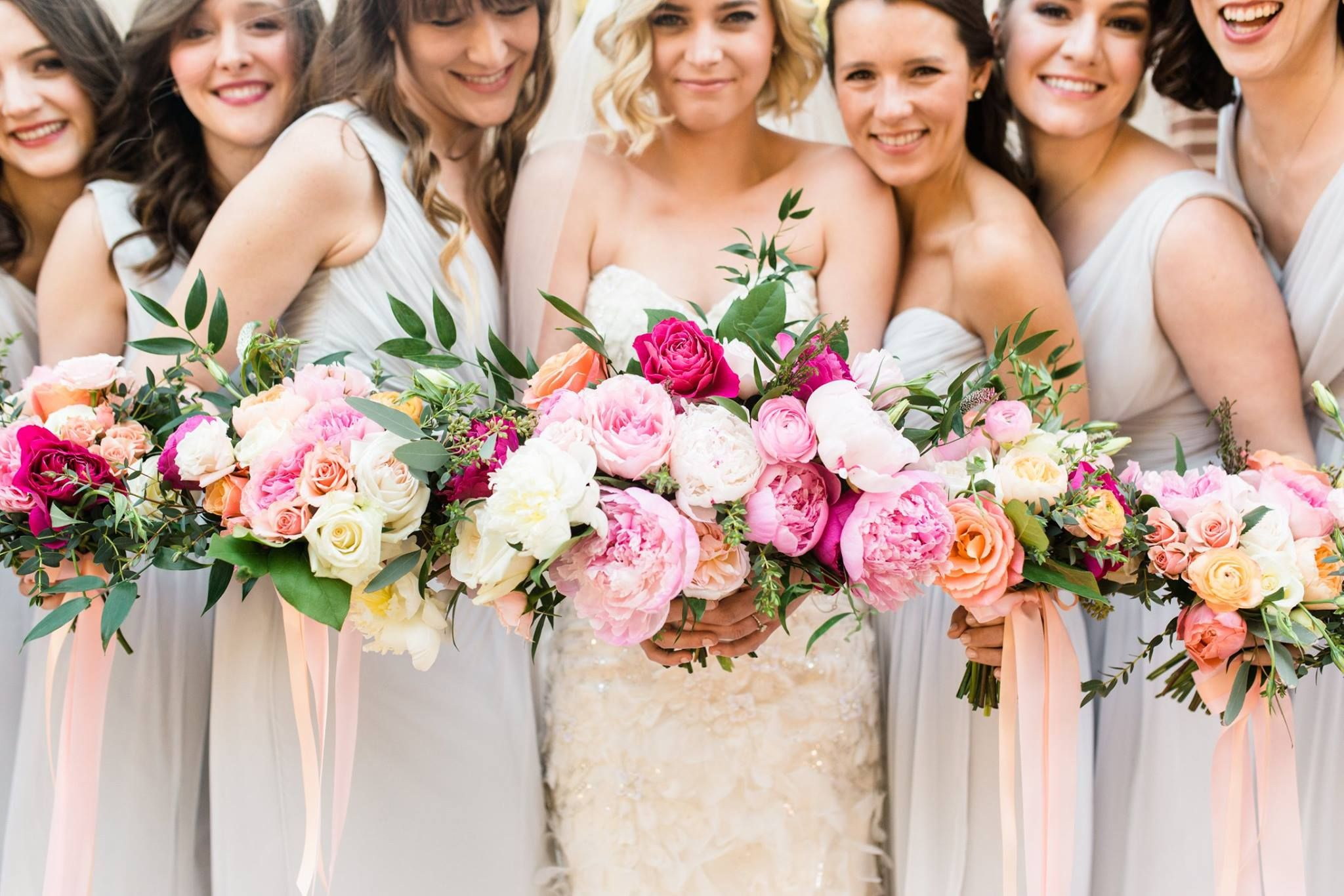 Pink Fuchsia And White Peonies Colorful Wedding Bouquet Grey