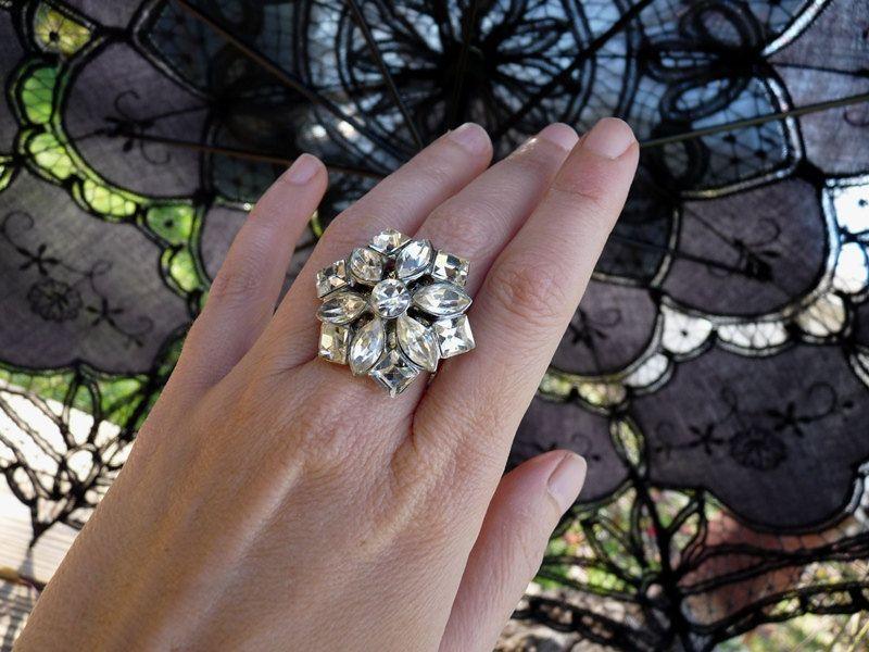 Vintage Adjustable Rhinestone Ring, Elegant Ornament, by Rustic Gypsy. $38.00, via Etsy.