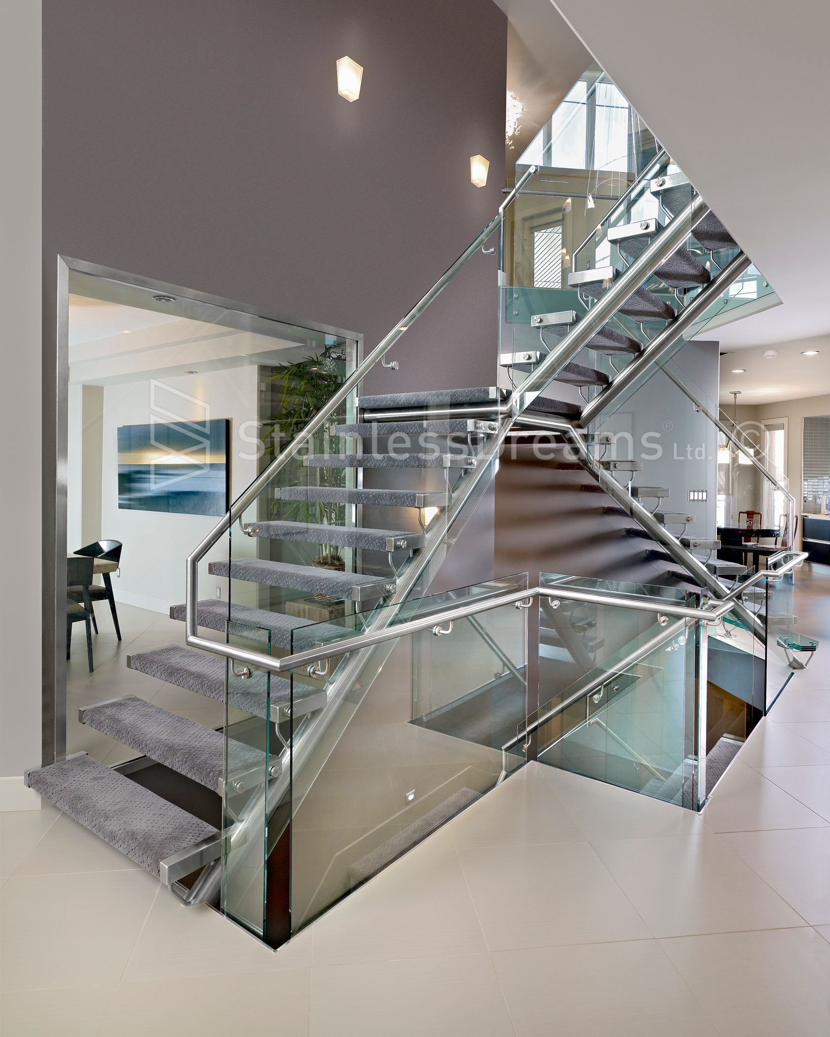 Tricky Structural Stainless Steel Staircase With Treads Attached To Glass