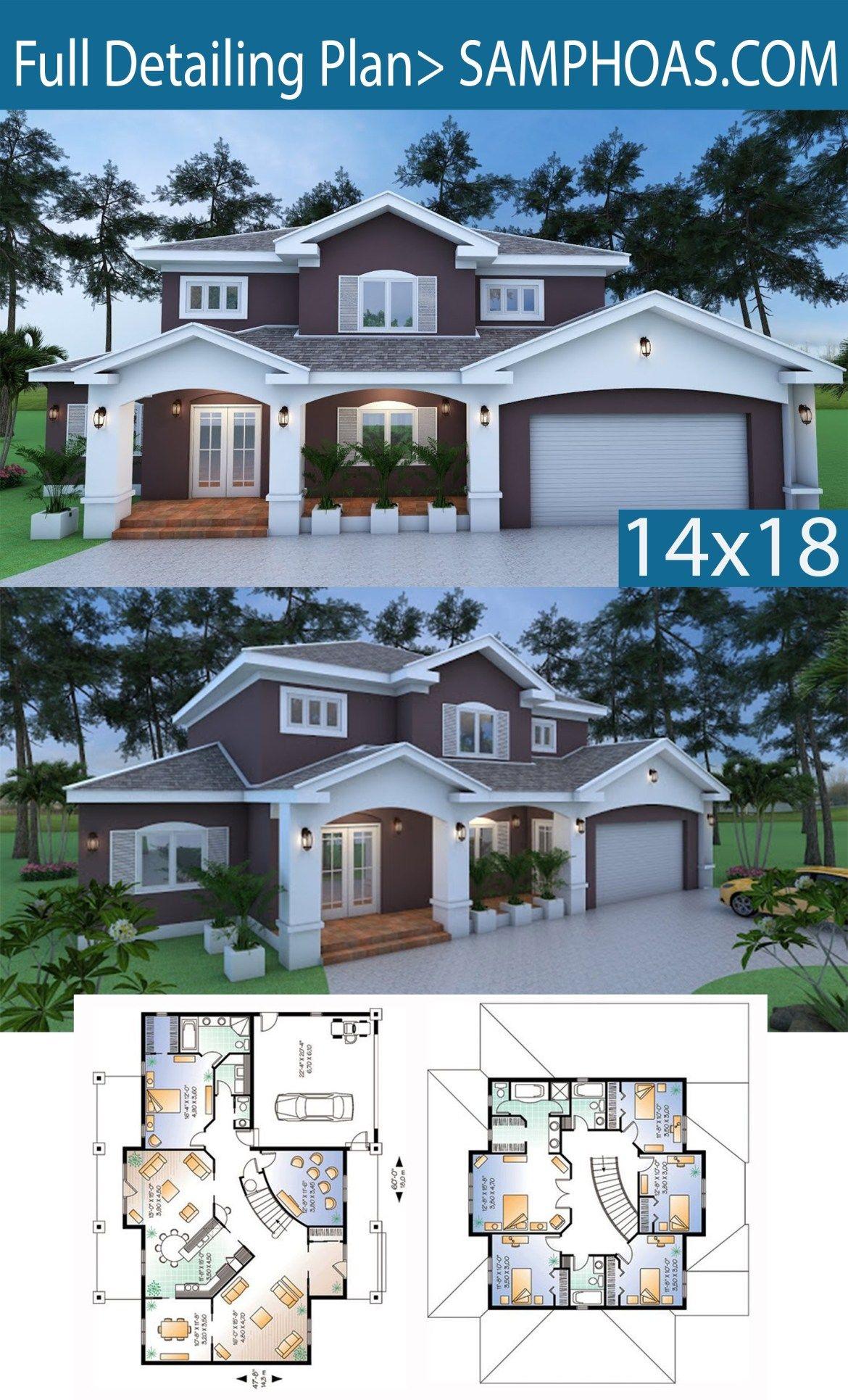 Room Floor Plan Designer Free: 6 Bedrooms House Plan14.3x18m
