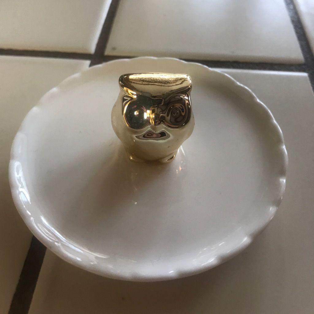 Gold Owl Jewelry Holder