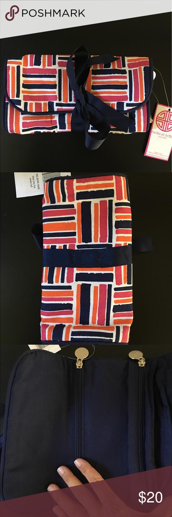 Buckhead Bettie's Navy Pink Orange Jewelry Bag New