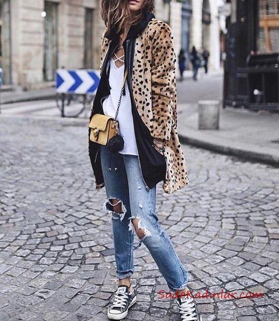410c4b937c6ee Leopar Desenli Kaban Kombinleri Mavi Yırtık Ko tPantolon Beyaz Bluz Leopar  Desenli Mont Siyah Spor Ayakkabı #leopar #coat #moda #fashion  #fashionblogger ...