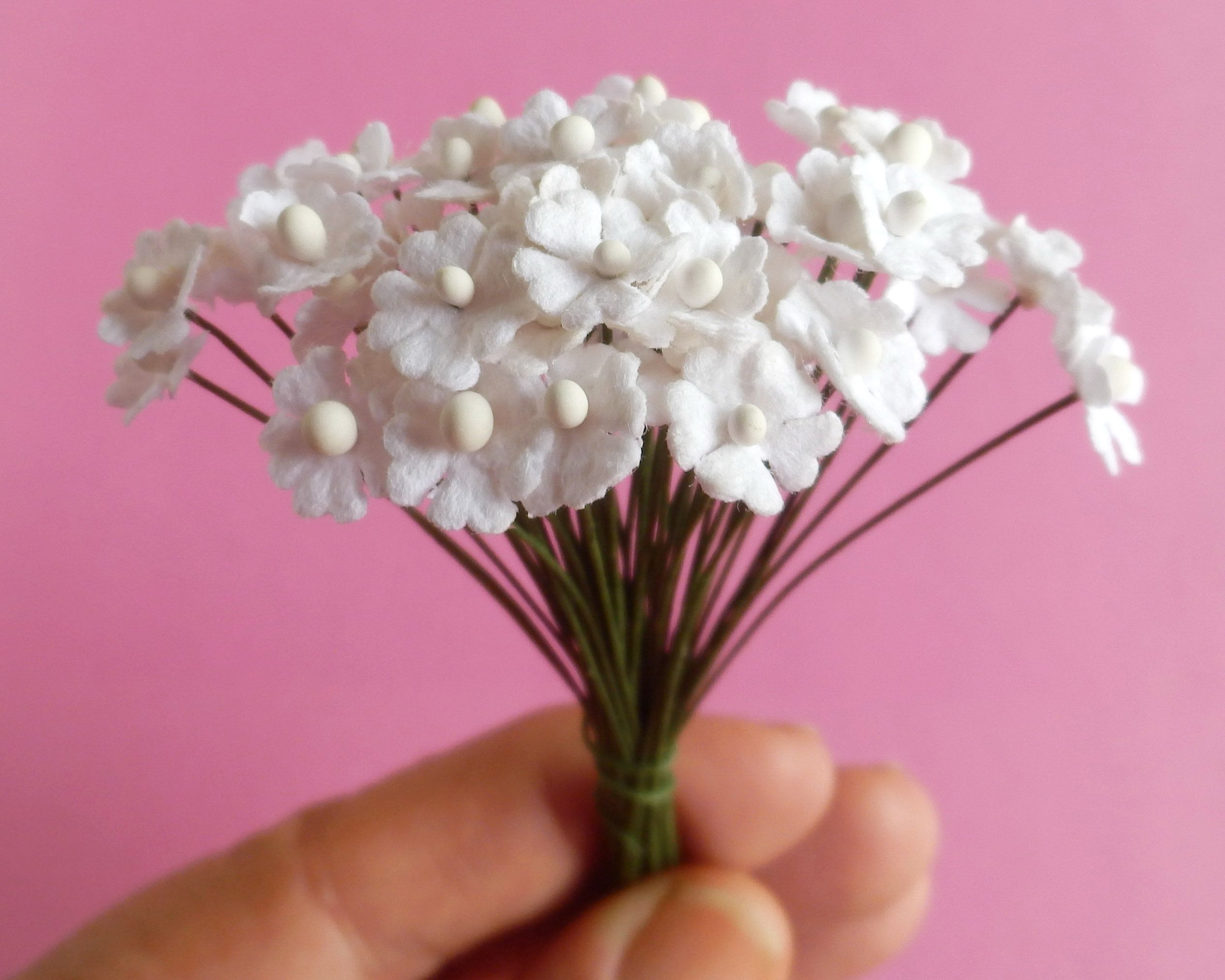 100 Miniature Paper Flowers Handmade Mulberry Paper Tiny