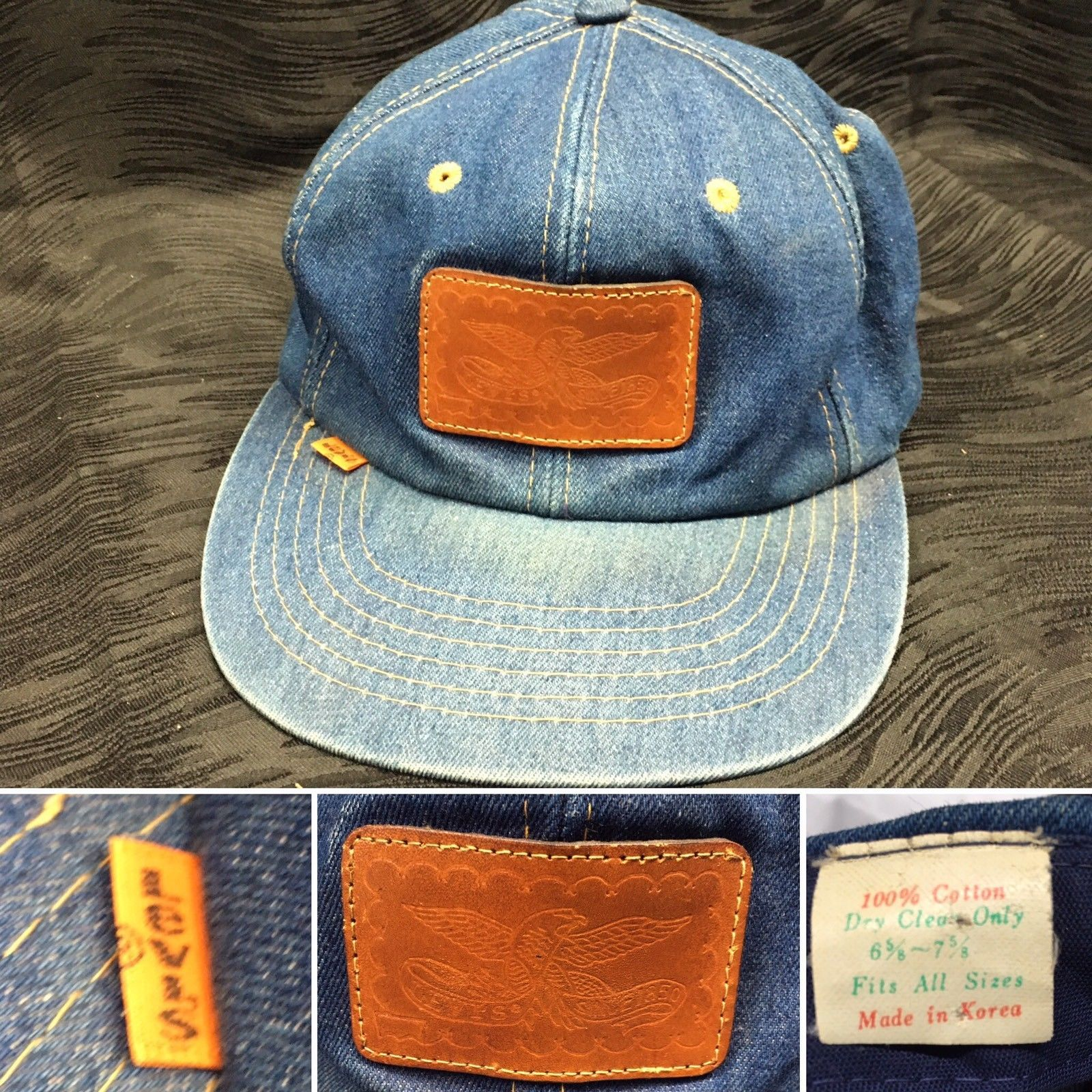 71f3cd8b7 Details about Vtg Levi Strauss Denim Leather Patch Snapback Orange ...
