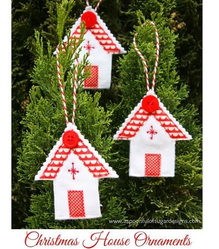 Tutorial Felt house Christmas ornament \u2013 Sewing christmas