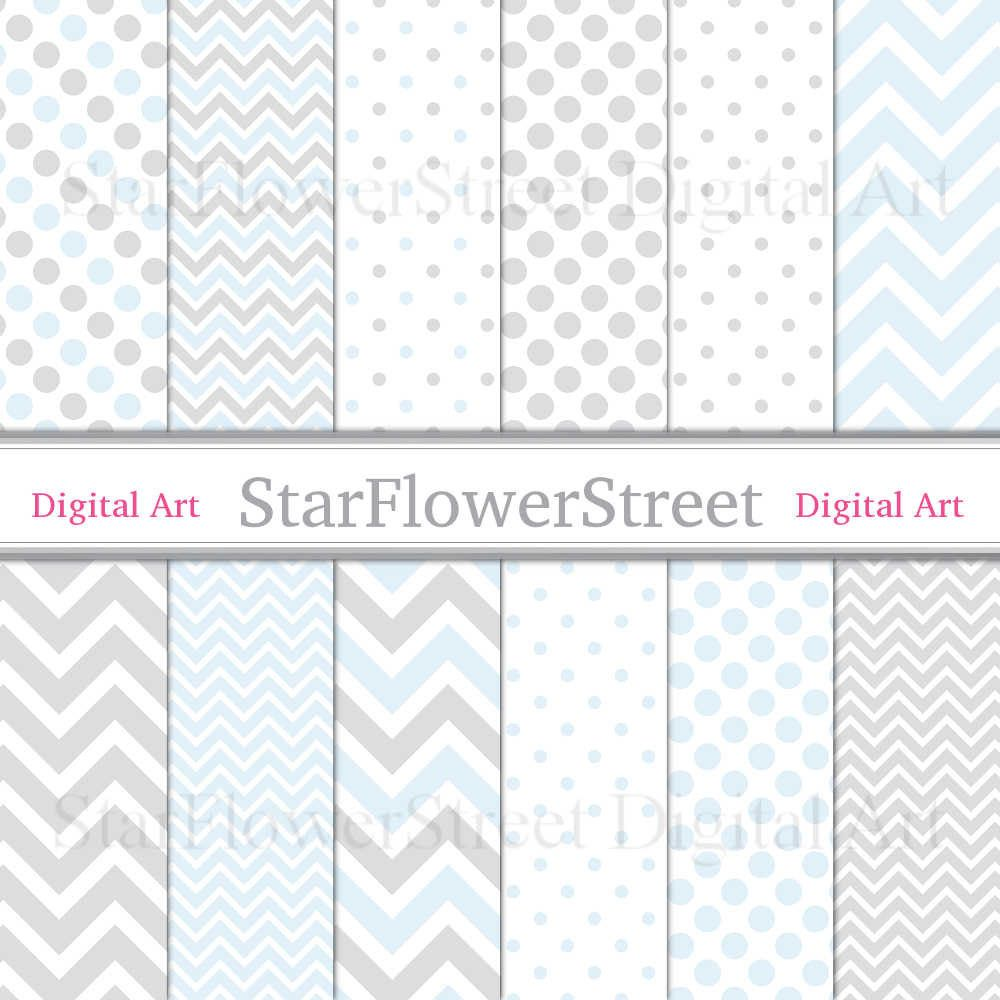 chevron digital paper scrapbook polka dot banner paper grey gray pattern boy digital paper baby blue baby boy shower invitation paper StarFlowerStreetDA on Etsy: (3.50 USD)