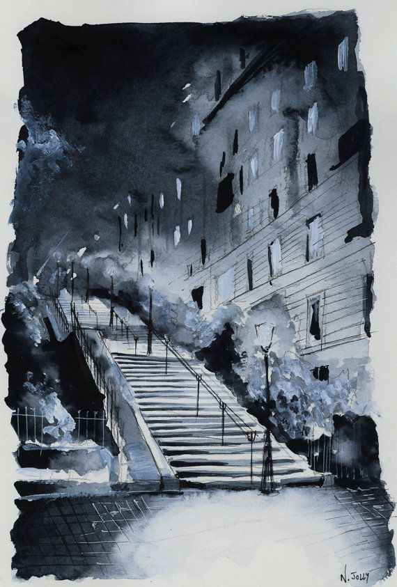 Original Watercolor Painting In The Blue Of The Night Night