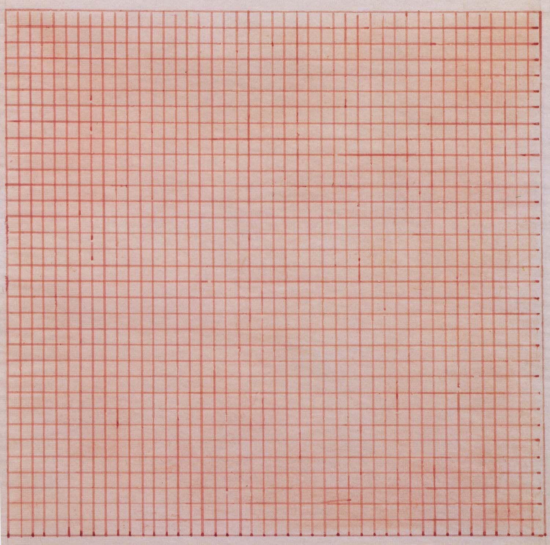Agnes Martins Untitled 1963 gridded painting