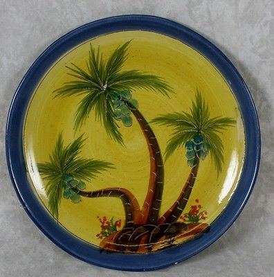 Romancing Provence Palms Dinner Plate Hand Painted Pottery France Blue Coconuts Hand Painted Pottery Pottery Painting Pottery