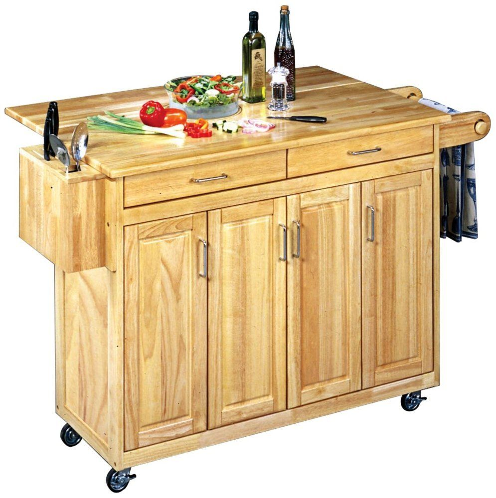 Home Styles 5023 95 Wood Top Kitchen Cart With Breakfast Bar Natural Finish